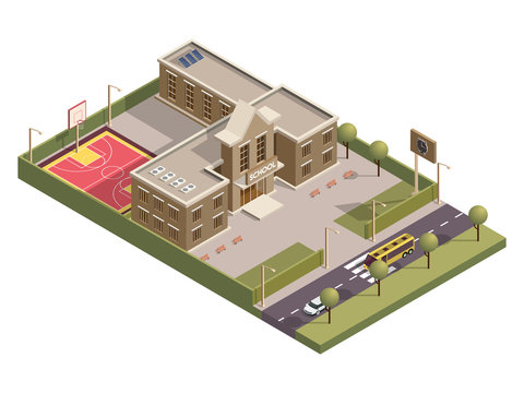 Isometric school building with clock board and basketball ground along vehicle street background.
