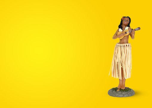 Hawaiian hula girl playing ukulele on yellow background.