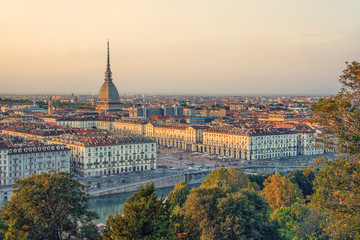 Fototapete - City of Turin at sunset