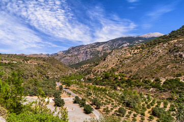 South Crete road on mountain with beautiful view. Crete island, Greece