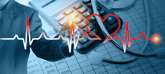 Hand of business man drawing glow heart rate wave sign. Medical and Life Insurance Concept.