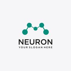 Initial Letter M Neuron Logo Vector Design Template .