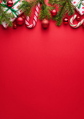 Red background for Merry Christmas and happy New Year
