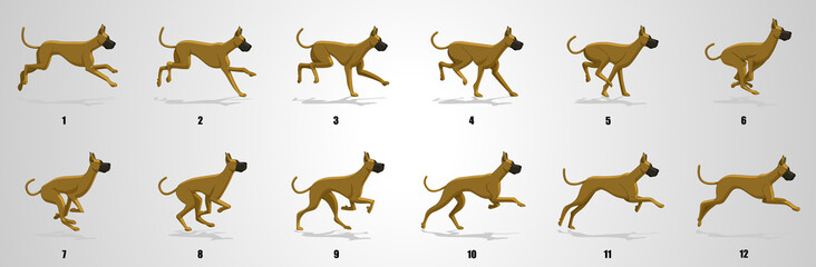 Great Dane Dog Run cycle animation sequence
