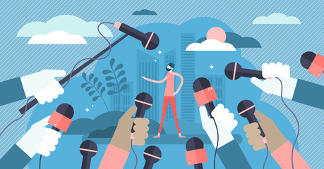 Press vector illustration. Flat tiny journalist interview persons concept.