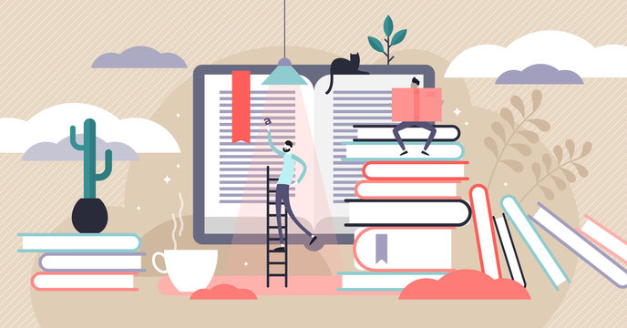 Reading vector illustration. Flat tiny paper book text study person concept