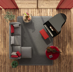 Top view of a modern living room with grand piano