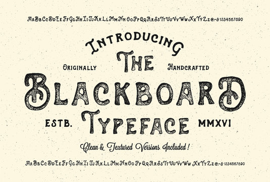 Handmade Modern Textured Font. Retro Typeface Duo . Clean & Textured Versions Included. Vector Illustration.