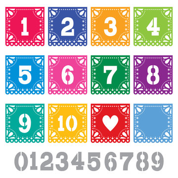 Papel Picado table numbers template vector set - Mexican paper design perfect party decoration