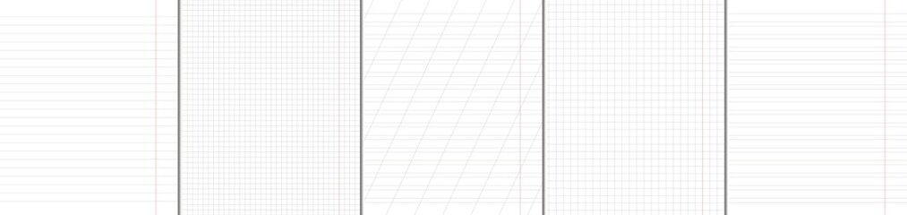 School notebook vertical paper sheets pattern set.