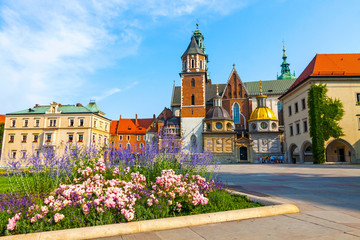 Photo sur Aluminium Cracovie Wawel Cathedral or The Royal Archcathedral Basilica of Saints Stanislaus and Wenceslaus on the Wawel Hill, part of Wawel Royal Castle complex in Krakow, Poland
