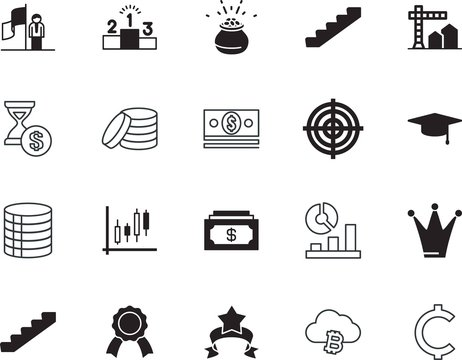 success vector icon set such as: academic, male, pack, target, 1, knowledge, trend, price, men, s, holding, bit-coin, analysis, usa, new, change, gray, authority, leader, machine, trophy, texture