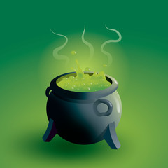 Witches cauldron boiling potion