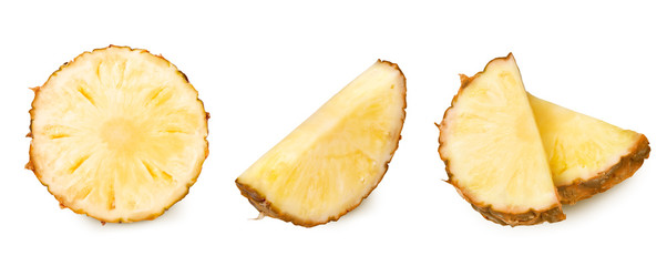 set of pineapple slices images on a white background