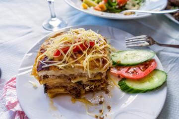 Traditional greek dish mousaka. Crete island, Greece