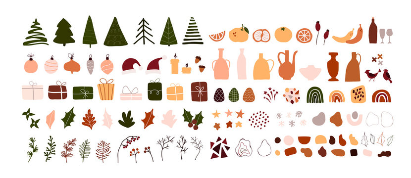 Set of christmas new year winter icons xmas geometric shapes isolated