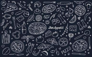 Vector background with pizza and snacks. Useful for packaging, menu design and interior decoration. Hand drawn doodles.  Set of food and pizza elements on black background.