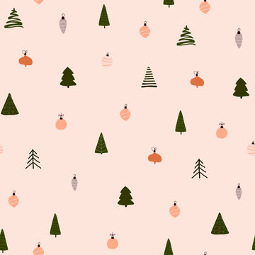 Abstract trendy christmas new year winter holiday seamless pattern with xmas trees balls
