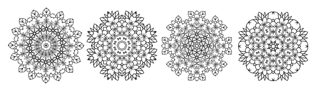 Illustration. Mandala set. Coloring book. Antistress for adults and children. The work was done in manual mode. Black and white.