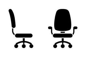 Office chair black and white vector icon pictogram set. Front and side view silhouette
