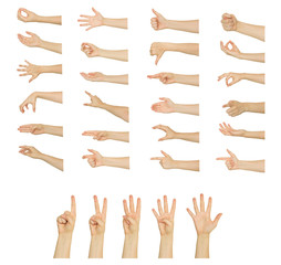 Set of woman's hand measuring invisible items. Isolated on white