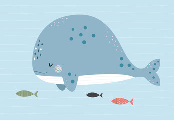 Whale and fishes in the ocean. Vector illustration in a scandinavian style with simple background. Funny cute poster.  G
