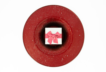 Christmas gift box with red plate