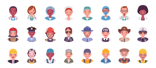 People in different profession avatar big bundle set. Emergency service workers face icons for gaming, online communities, Web forums. Vector flat style cartoon illustration isolated, white background