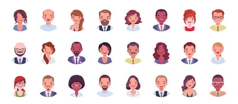 Business people avatar big bundle set. Businessmen and businesswomen face icons, character pic to represent online user in social net. Vector flat style cartoon illustration isolated, white background