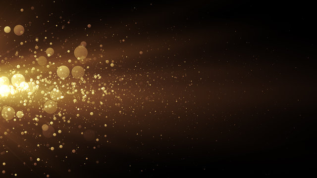 Golden stream with lights and particles. Abstract background for celebration card or brochure.
