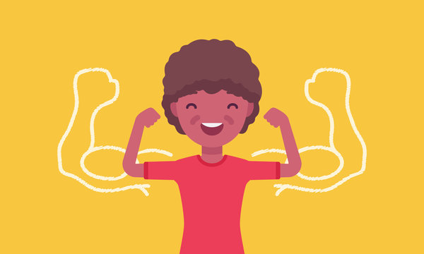 Strong black boy showing off biceps. Happy schoolboy athlete trying to impress with muscles, kid enjoys sport, healthy lifestyle to grow in great physical power. Vector flat style cartoon illustration