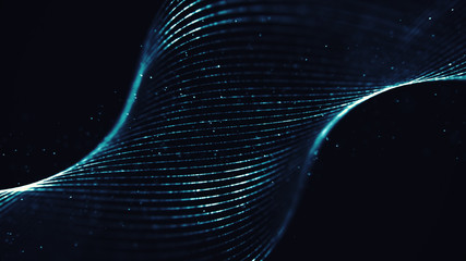 Abstract spiral form with particles rotating in a cyber space. Digital waves with lights.