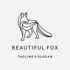 Modern Line art Fox logo design inspiration