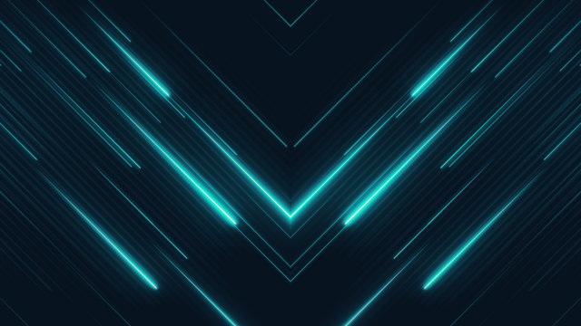 High tech abstract background. Blue lasers. Neon rays in a cyber space. Media diagonal texture. Bright futuristic illustration concept.
