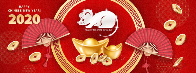 White metal Rat is a symbol of 2020 Chinese New Year. Horizontal banner with realistic gold ingots Yuan Bao, falling coins, hand fans on red background. The wish of wealth, abundance and monetary luck