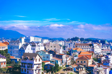 A great view of Da Lat city from a coffee shop. Royalty high quality stock image of Da lat city. Da Lat city is a popular tourist destination.