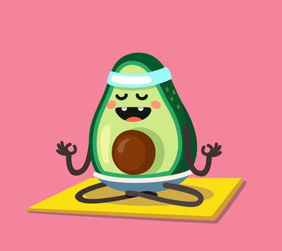 avocado doing stretching or yoga.