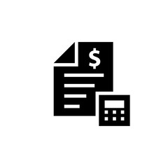 Cost estimate silhouette icon. Clipart image isolated on white background