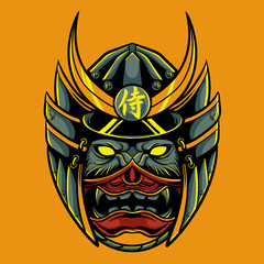 samurai oni mask vector illustration / japanese demon mask / samurai head