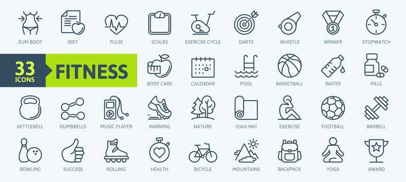 Sport and fitness - minimal thin line web icon set. Outline icons collection. Simple vector illustration.