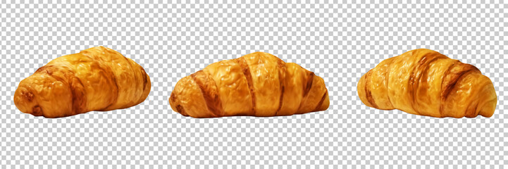 Set with isolated croissants realistic images. Vector illustration