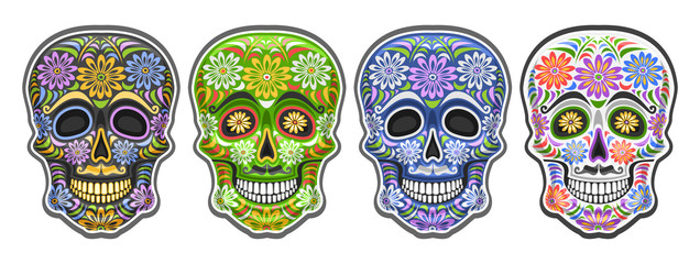 Vector set of Sugar Skulls for mexican Day of the Dead, group of 4 cut out colorful human skulls with decorative floral ornament for Dia de los Muertos festival, cartoon smiling masks with mustache.