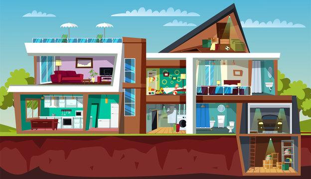 House cross section flat vector illustration