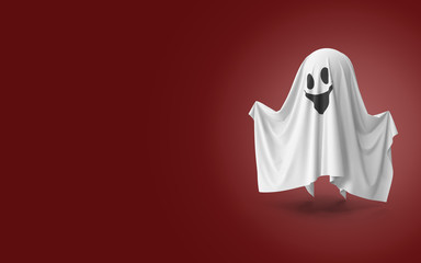 Spooky Cartoon 3D Halloween Ghost on Red Background with Copy Space