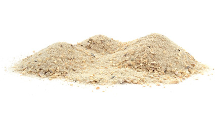 Pile of sand off an ocean beach, dune isolated on a white background and texture. Pile of sand from the beach, sand dune isolated on a white background. Wall mural