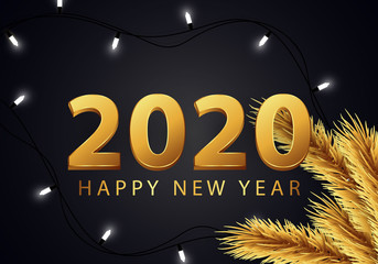 Happy new year 2020 beautiful golden number design For greeting cards and signs vector illustration