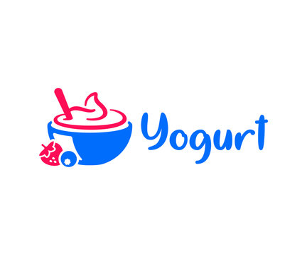 Fruit yogurt logo design. Ice cream vector design. Yogurt bowl with berries logotype