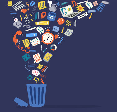 Trendy flat information icons going into a garbage basket. Concept illustration of digital hygiene, input overload and digital detox. Banner template on the dark background.