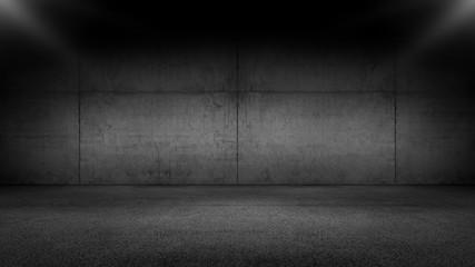 Black Floor Concrete Wall Garage Background with Spot Light