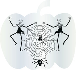 Halloween illustration with dancing, googly eyed skeletons holding a black widow spider's web on a silver pumpkin